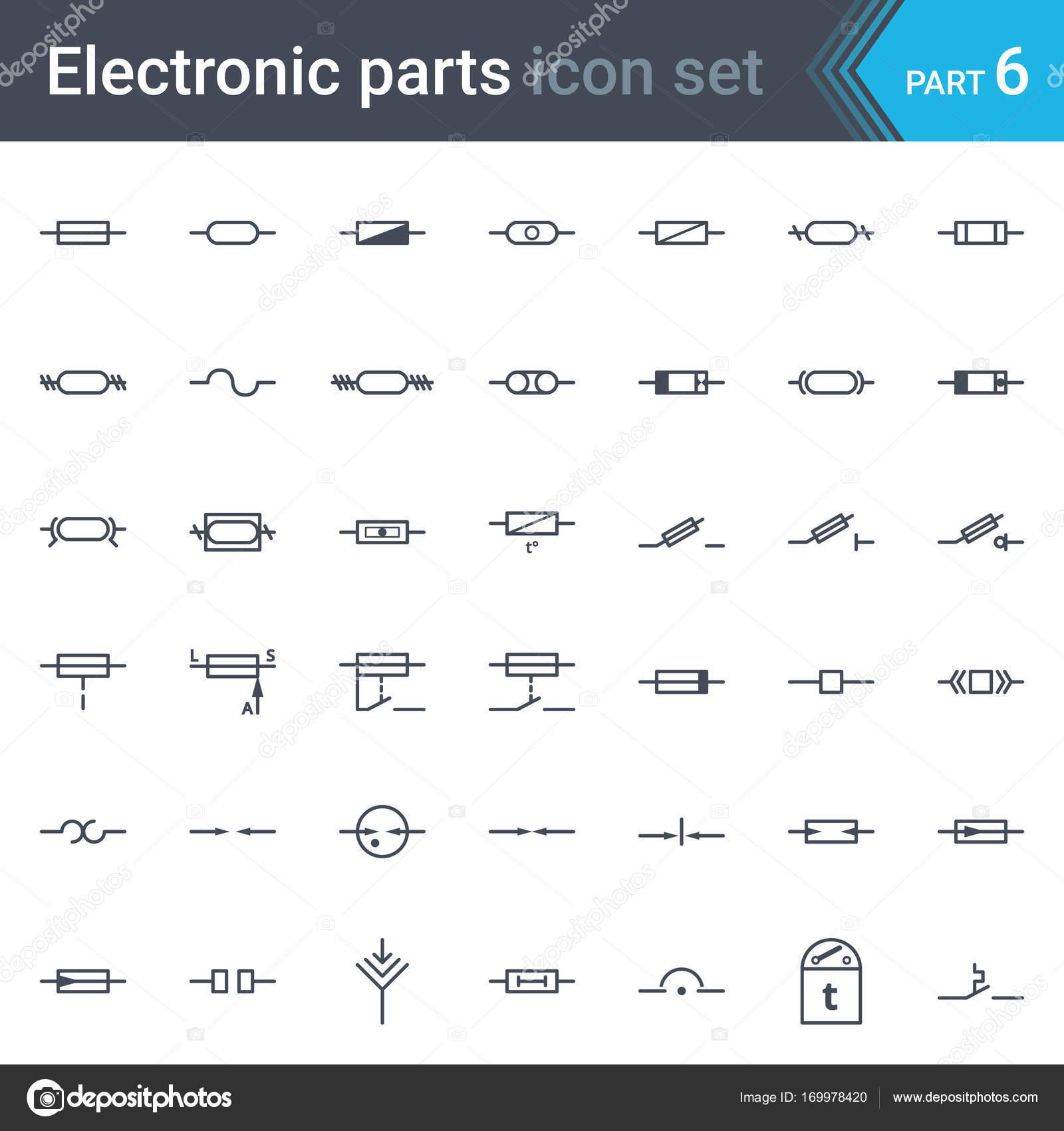 Elektrickych A Elektronickych Obvodu Diagramu Symboly Sada Pojistky