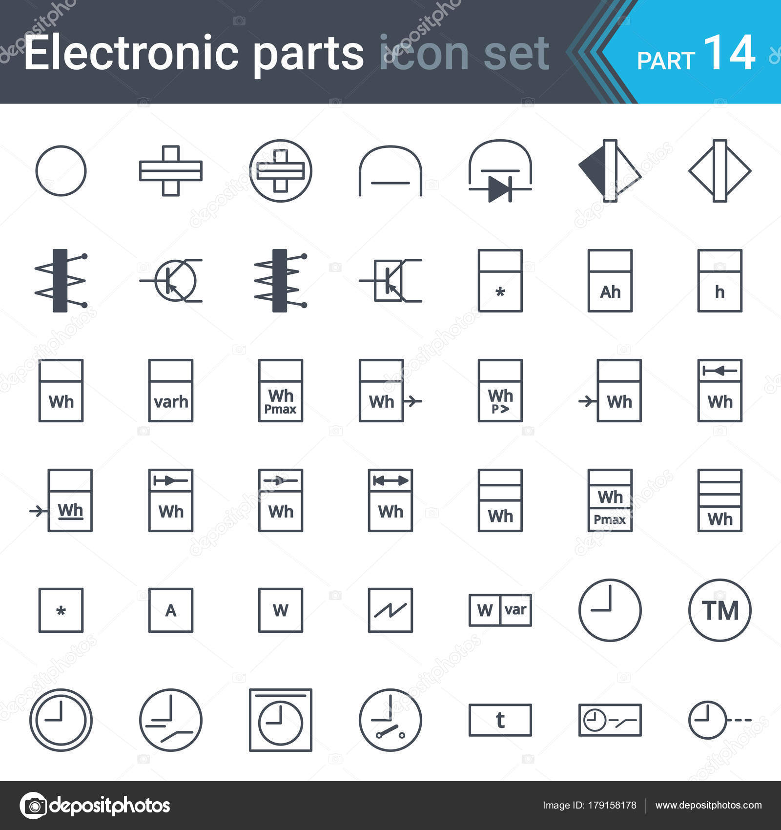 Electric Electronic Circuit Diagram Symbols Set Electrical ...