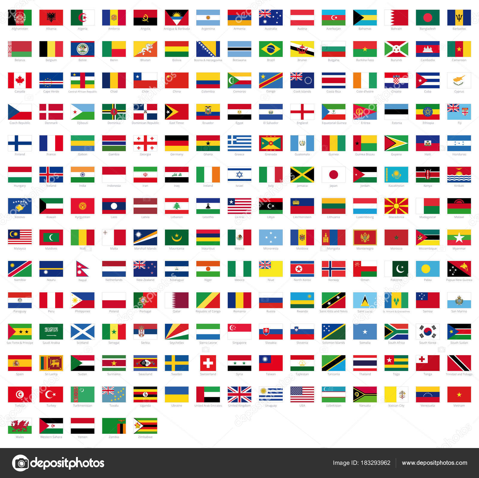 all national flags world names high quality vector flag isolated
