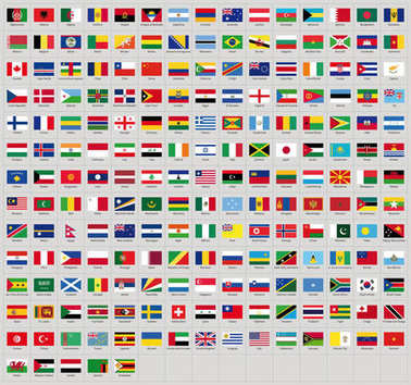 All national flags from all over the world with names - high quality vector flag isolated on white background
