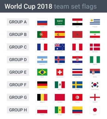 World cup 2018 team flags