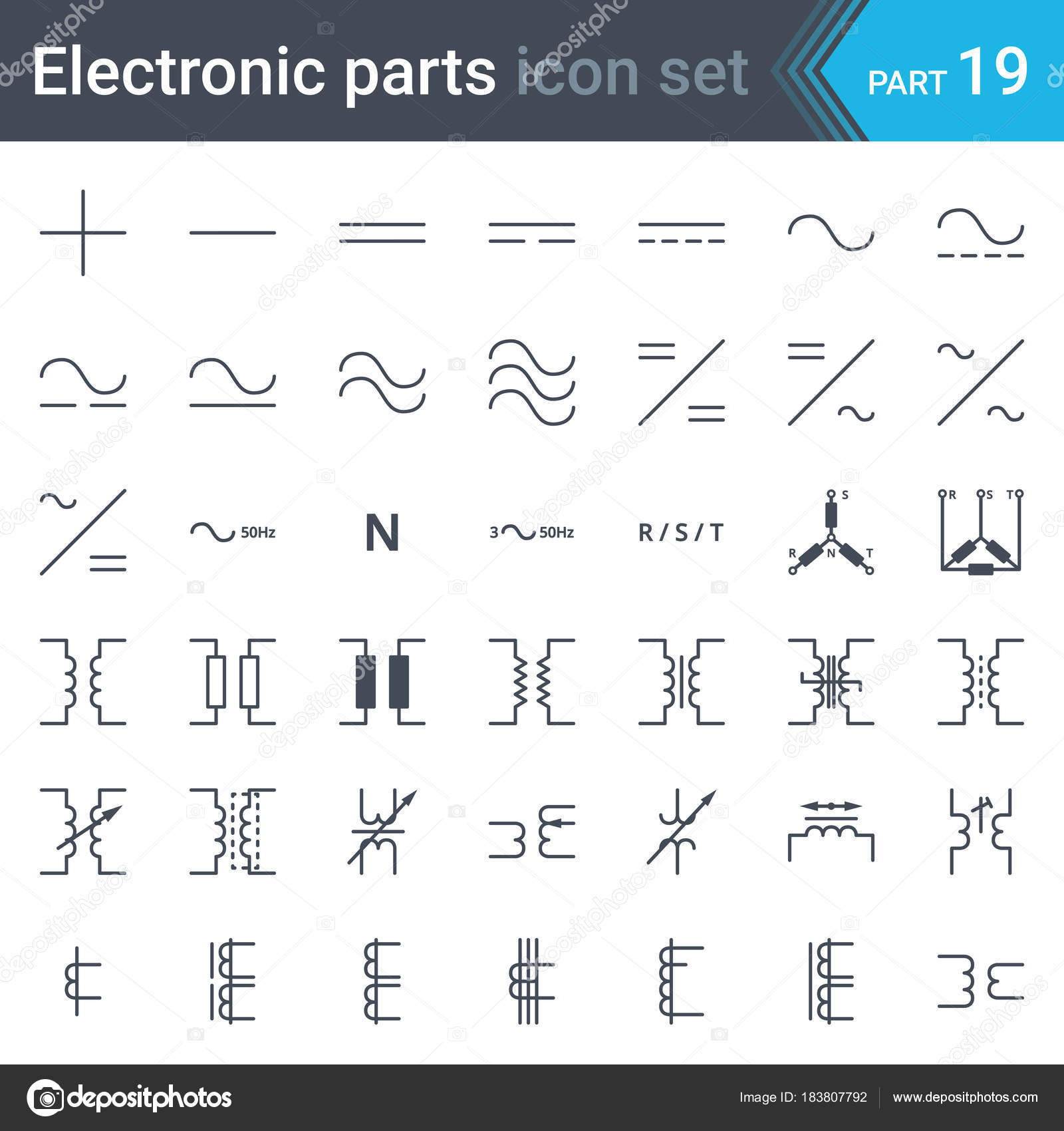 Complete Vector Set Electric Electronic Circuit Diagram Symbols ...