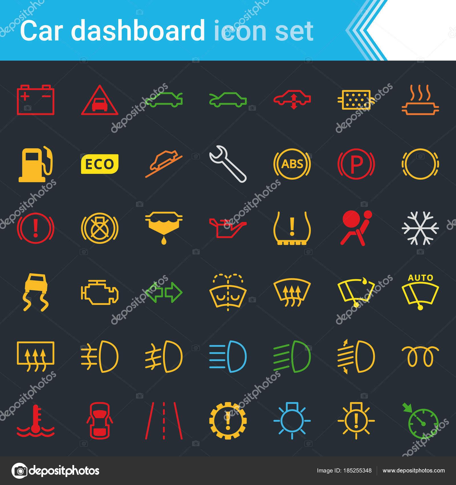 Kleurrijke Auto Dashboard Interface Indicatoren Pictogrammenset