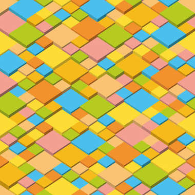 Summer. Abstract vector background of isometric cubes. Geometric squares in summer colors