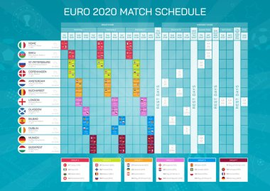 Euro 2020 match schedule - football championship timetable. All european participating countries - high quality vector with flags for print and web.