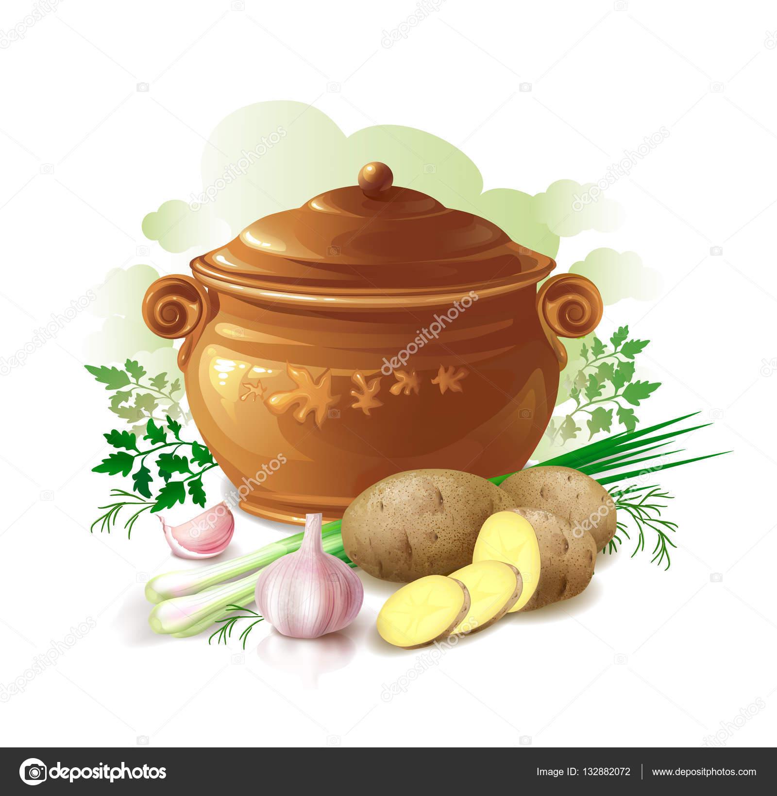 Ceramiczne Doniczki Z Ziemniakami Zielonej Cebuli Czosnku