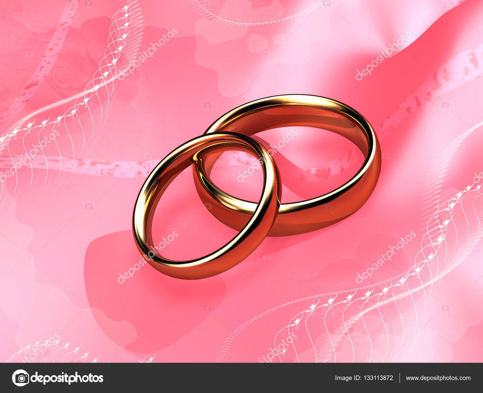 Wedding rings on a pink background. Digital illustration. — Stock ...