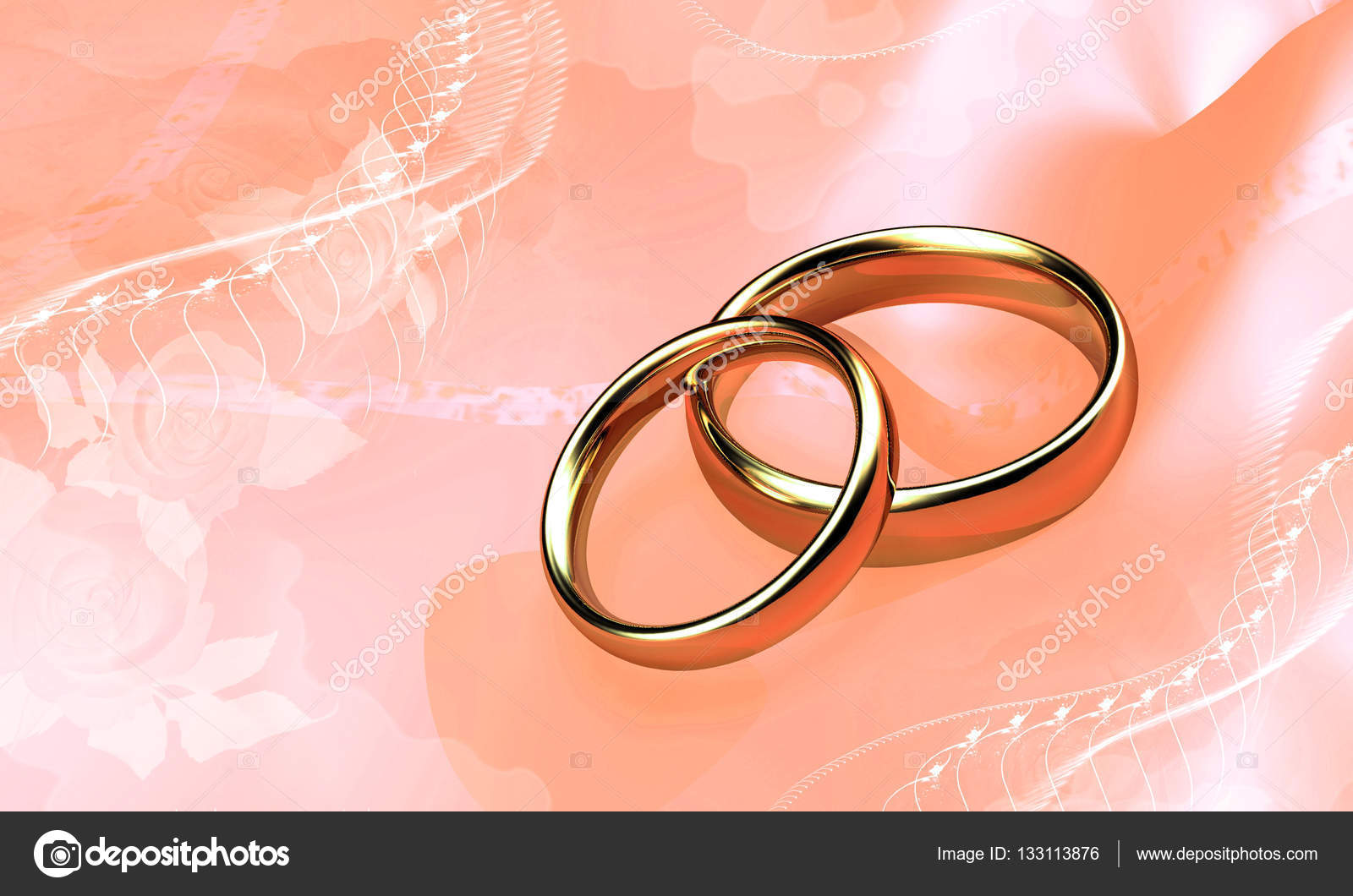 Wedding rings on the background color of the tea roses. Digital ...