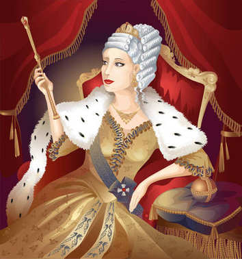 Queen on the red throne holding a staff and scepter on red curtain background. Vector illustration.