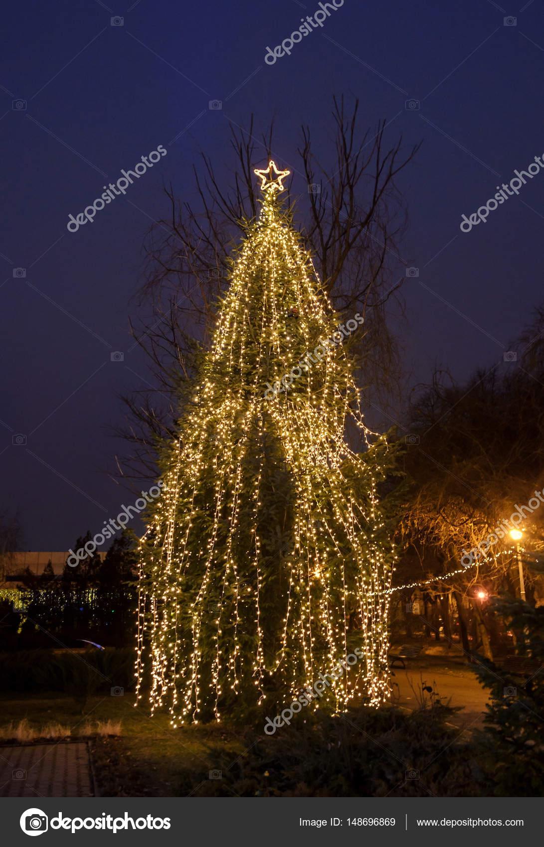 Gekleurde verlichte kerstboom met ornamenten, buiten nachttijd ...