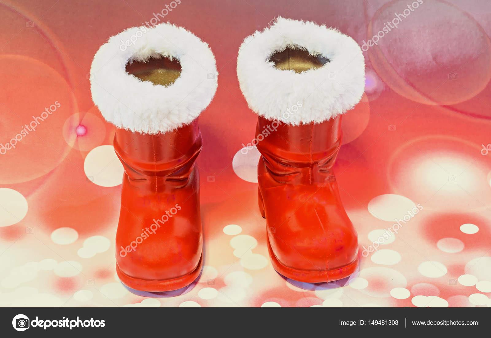 Red Santa Claus Stiefel Schuhe Sankt Nikolaus Stiefel Geschenke