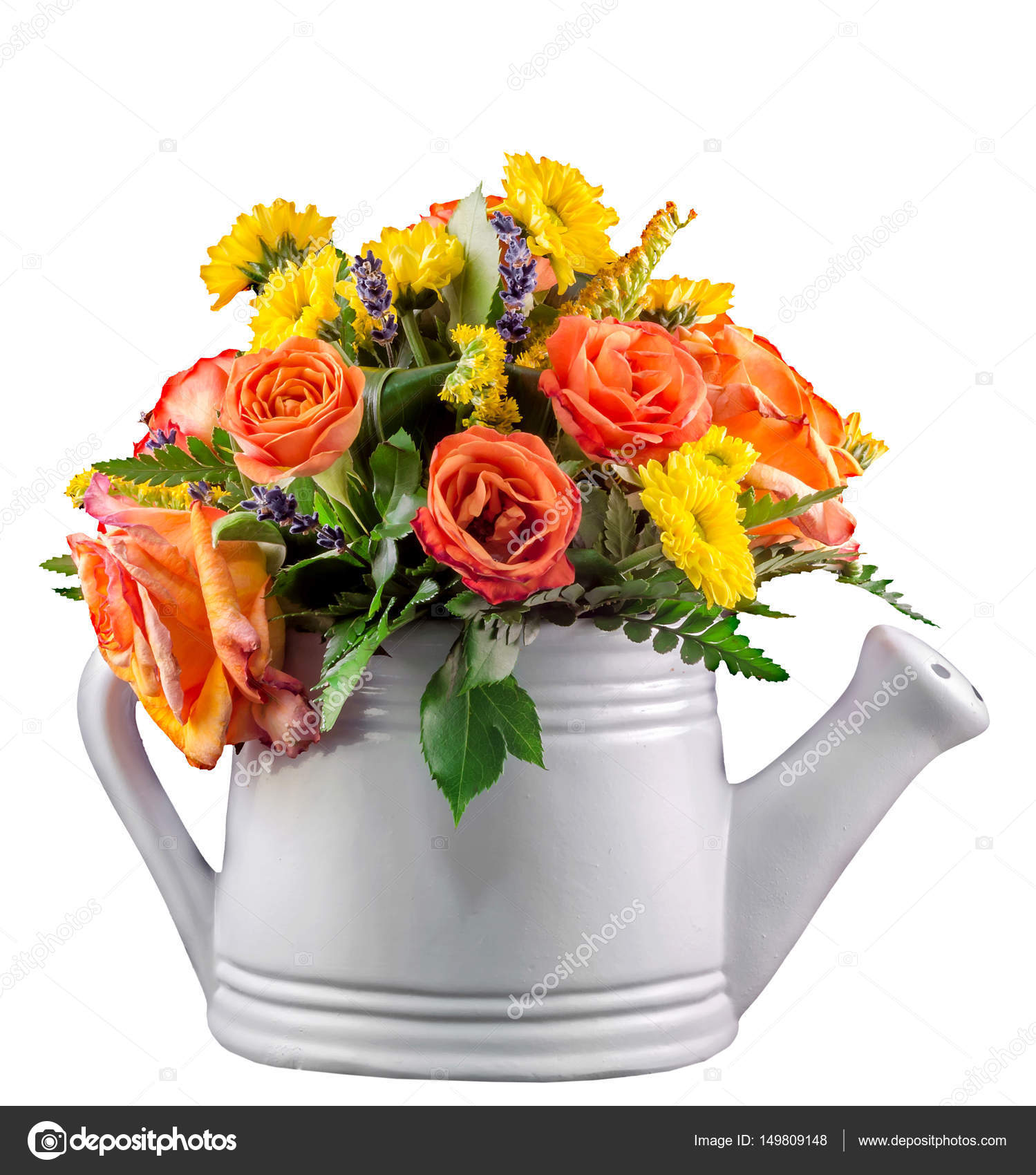 Vivid Colored Flowers Orange Roses In A White Sprinkler Water