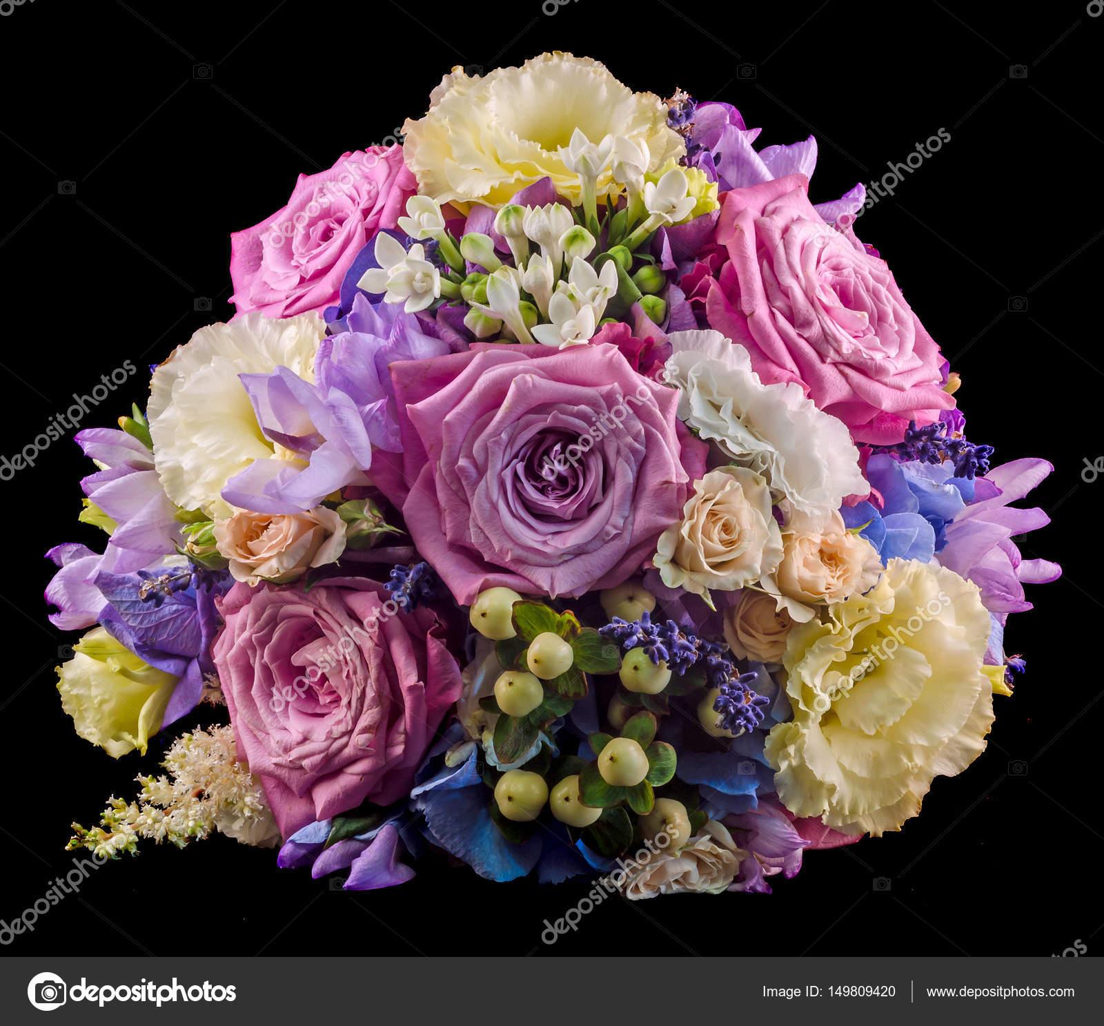 Vivo arreglo floral con rosas color malva y Hydrangea Hortensis ...