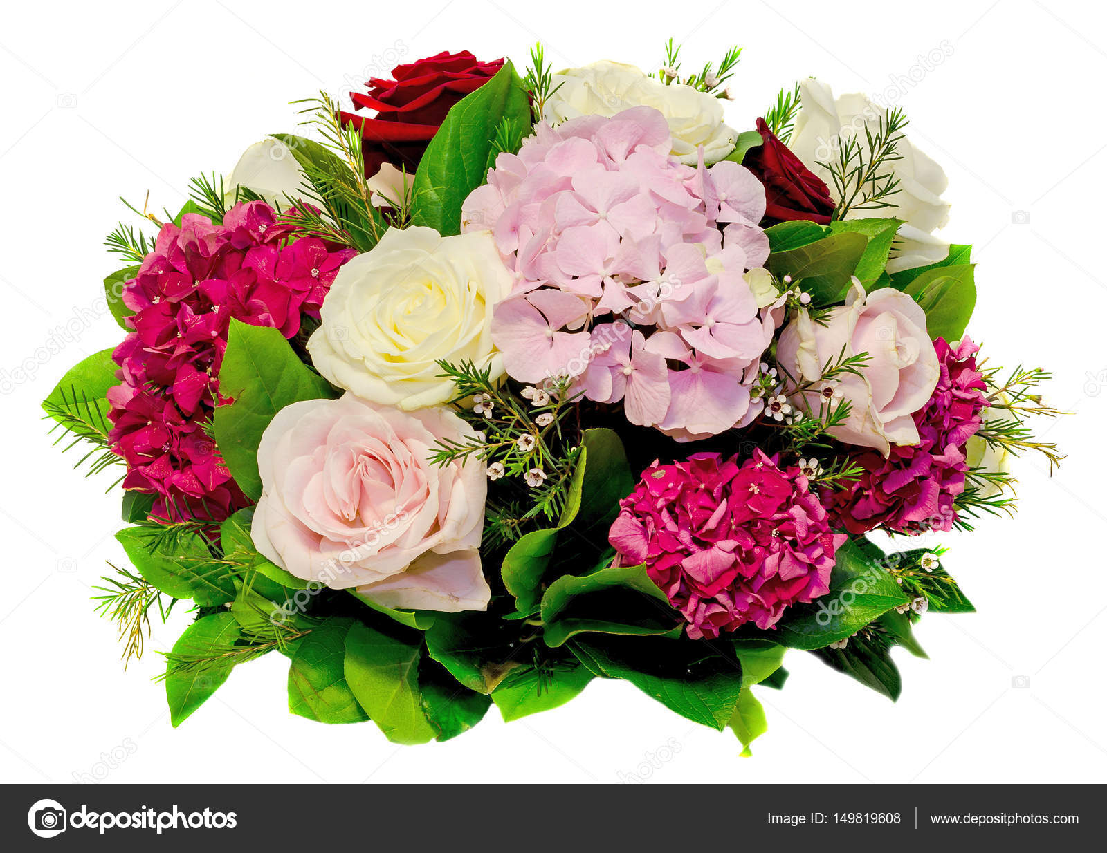 Floral Arrangement Bouquet With White Pink Yellow Roses And