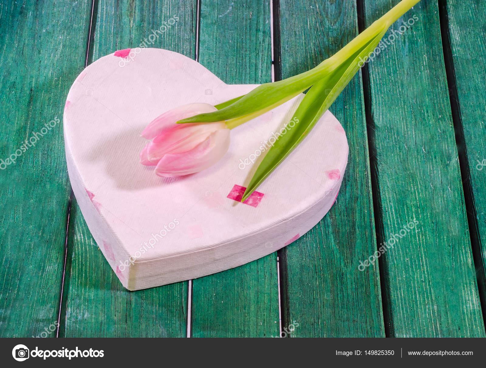 rose fleurs tulipes avec boîte de forme de coeur, gros plan, vert en