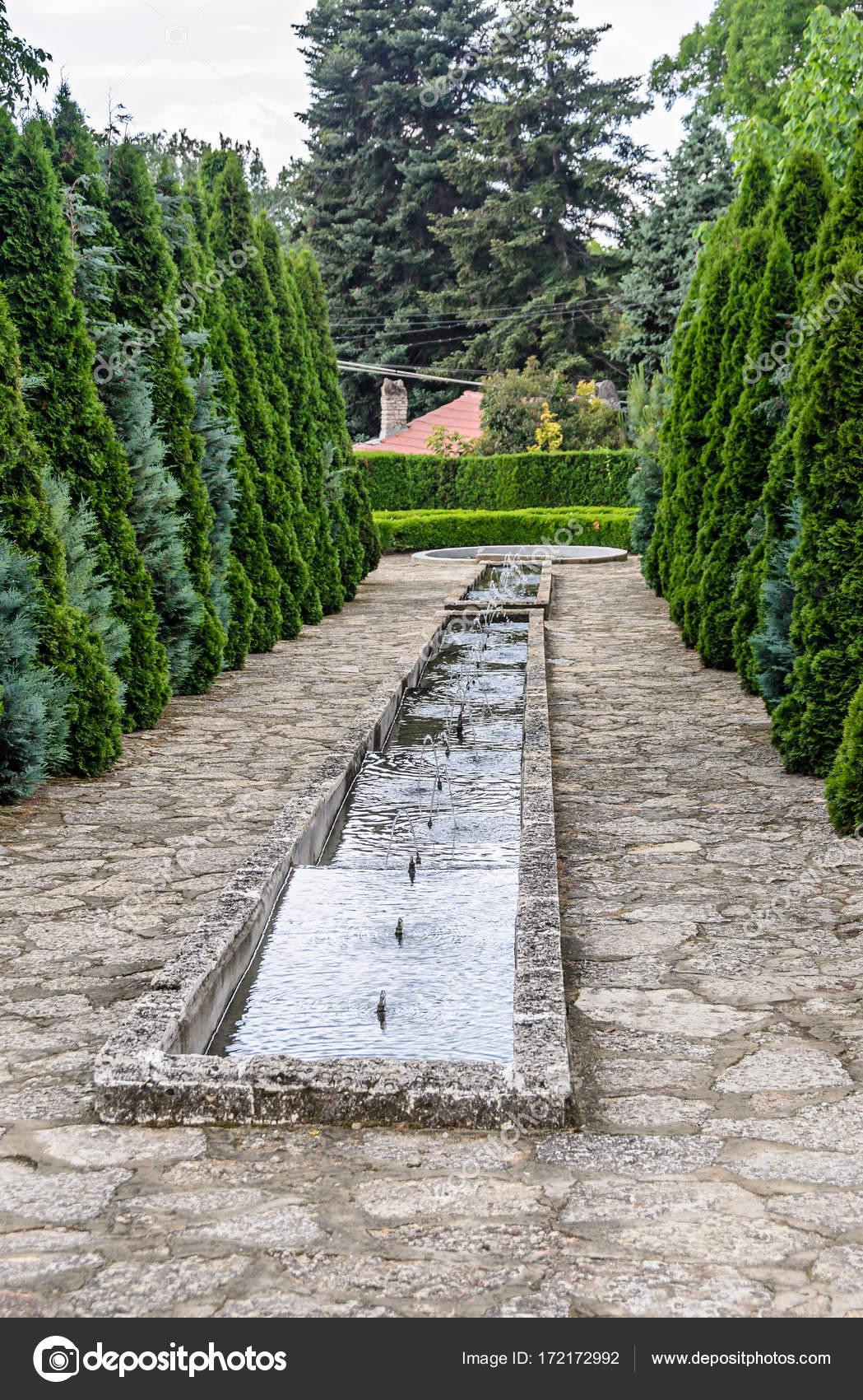 Jardn Botnico con rboles de pino verde y fuentes decorativas de