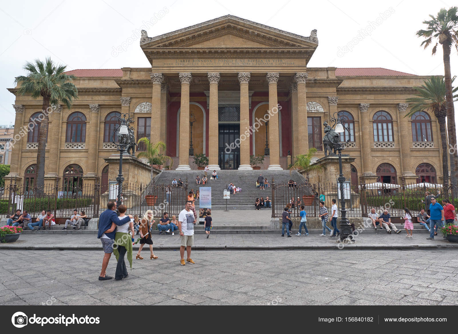 The opera house Teatro Massimo in Palermo – Stock Editorial ...