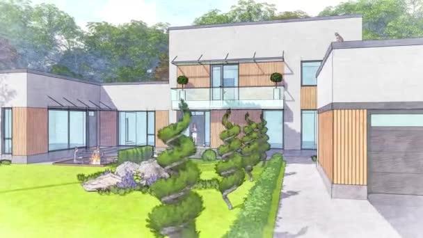 eine 3D-Illustration eines modernen Privathauses, stilisiert als Zeichnung.