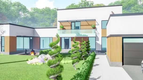 3D-Illustration eines modernen Landhauses, im Frühling bei sonnigem Wetter