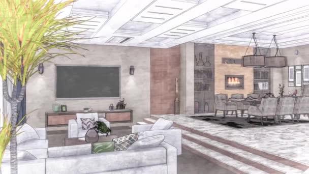 Kreslený obývací pokoj interiér 3D ilustrace