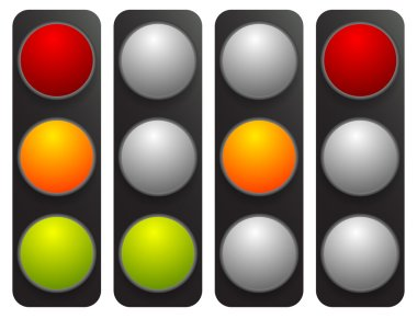 traffic light icons set