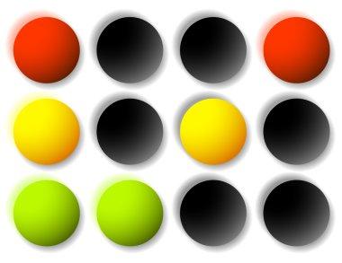 Traffic light icons set