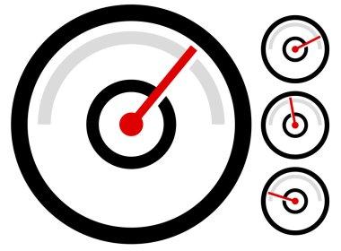 gauge, speedometer icons set
