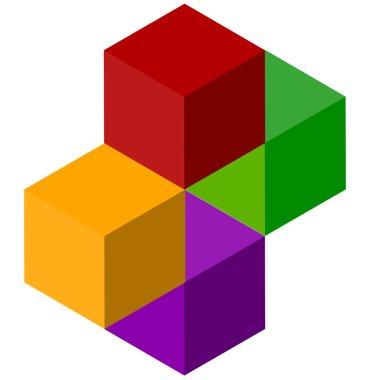 Cube stack logo icon.