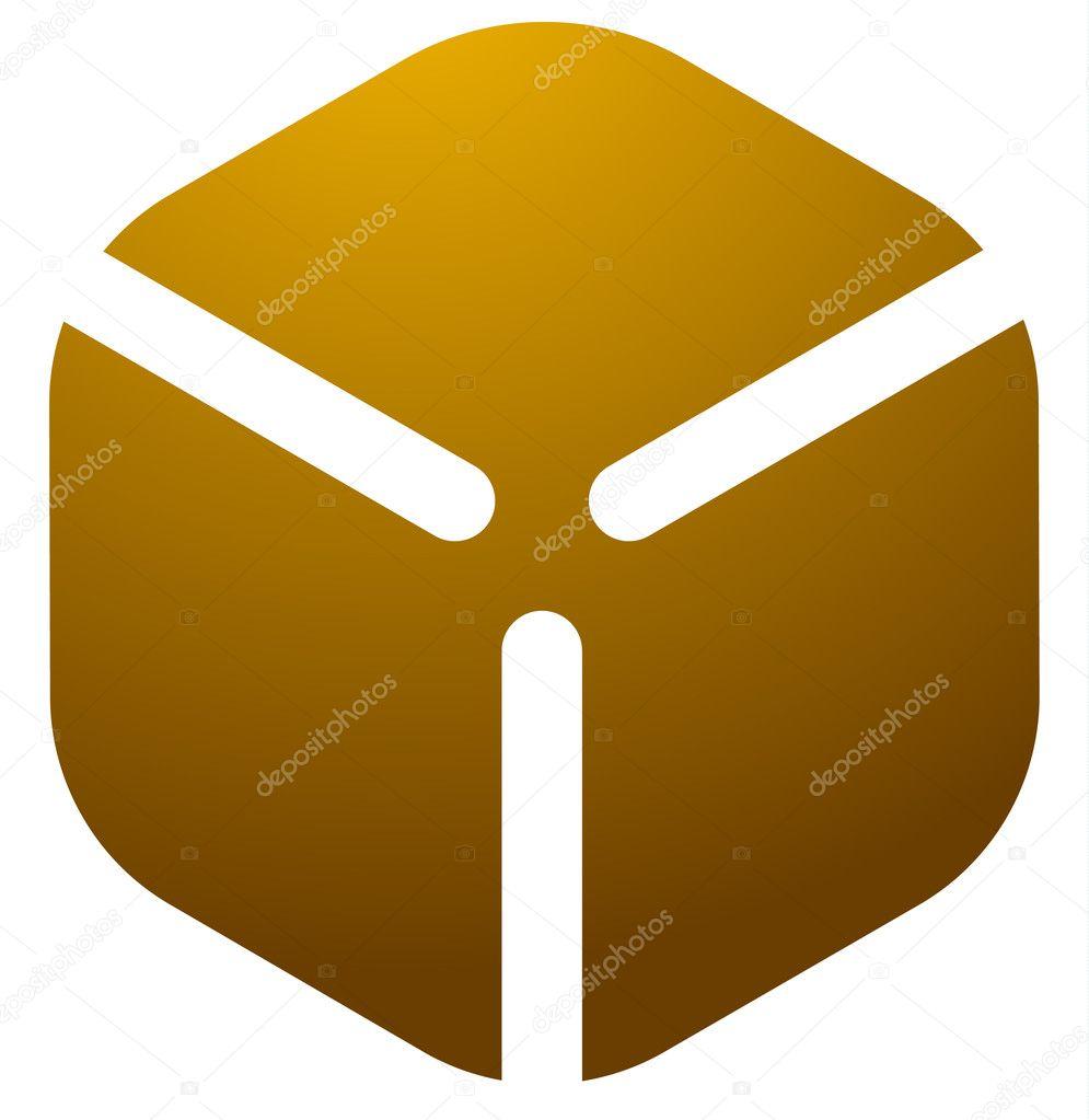 Cardboard cube box logo