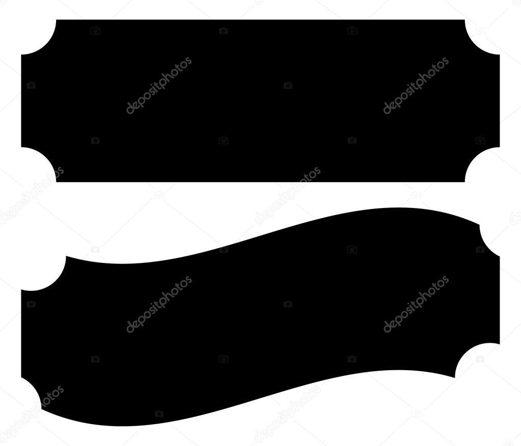 leere Plakette, Banner oder Ticket-Formen — Stockvektor ...