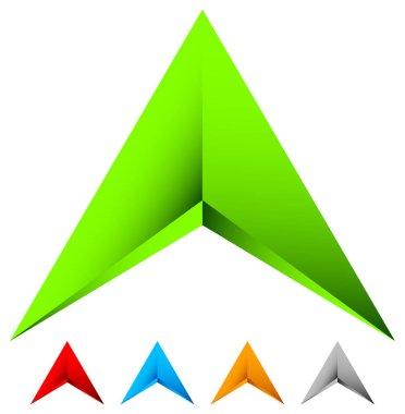 Sharp edgy 3d arrow icons