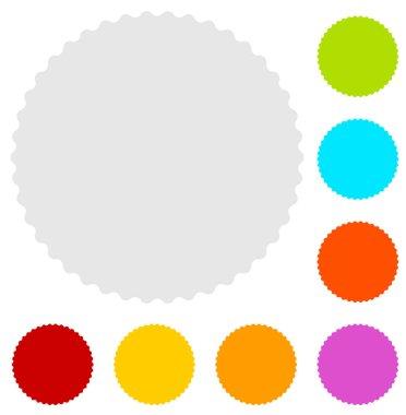 Starburst badges shape in 8 color.