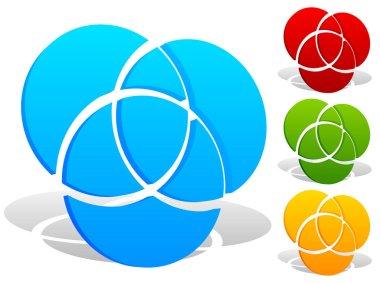 Overlapping circles icon set