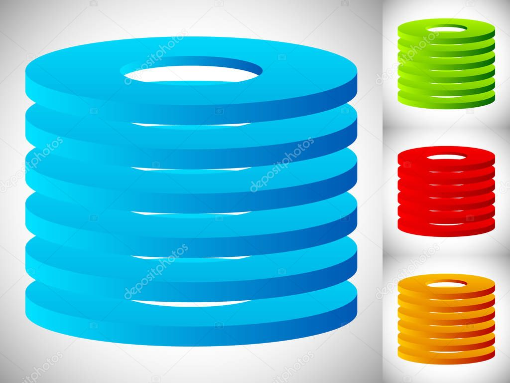 Abstract cylinder / barrel icons