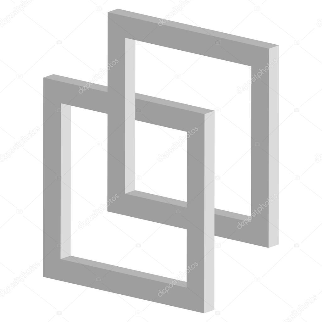 3d interlocking squares icon stock vector vectorguy 130539498 3d interlocking squares icon connected intersecting square frames vector by vectorguy buycottarizona