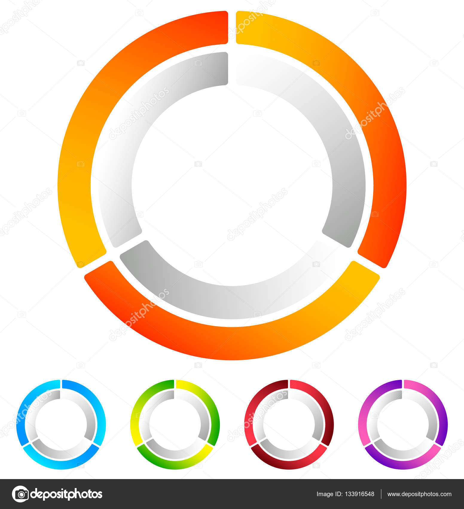 Segmented circle abstract icons stock vector vectorguy 133916548 segmented circle abstract icons circular geometric logo icon in 4 colors concentric circles ring element vector by vectorguy pooptronica Choice Image