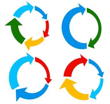 Set of circular arrows