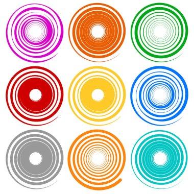 Set of spiral shapes