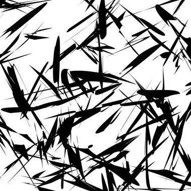 Abstract monochrome geometric pattern of chaotic rough random shapes, vector, illustration clip art vector