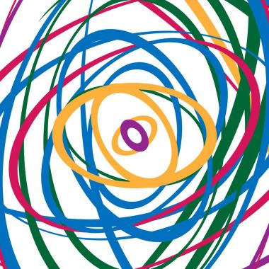 Circular spirally pattern with colorful ellipses