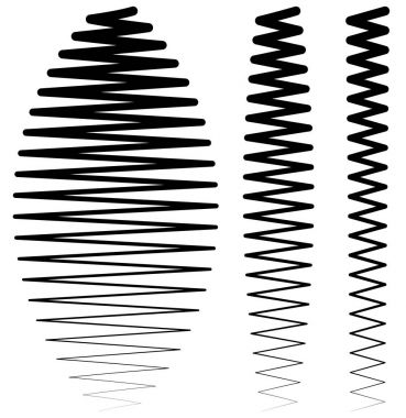 Set of vertical criss-cross wavy zigzag lines, vector, illustration stock vector