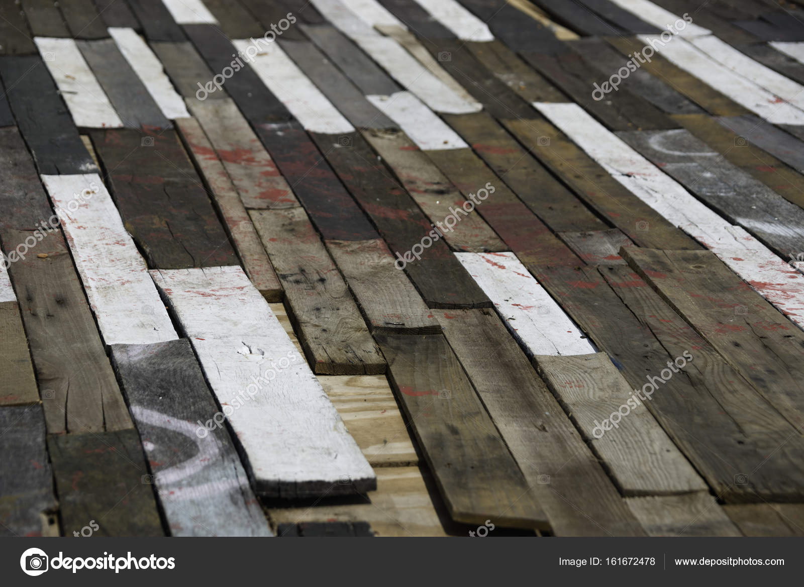 Wood Floor With Multi Colored Planks Stock Photo