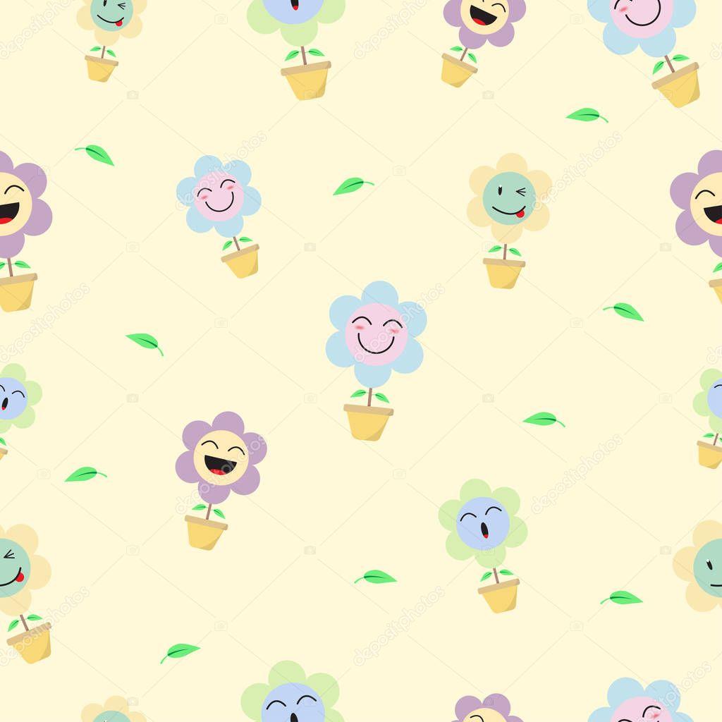 Background: flower emoji   Cute Pastel Flower Emoji Seamless