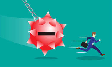 Business Concept As A Businessman Is Running Hurriedly From A Swinging Red Negativity Spiky Steel Wrecking Ball. It Means Trying To Avoid Dangerous Negative Attitude From The Other. stock vector