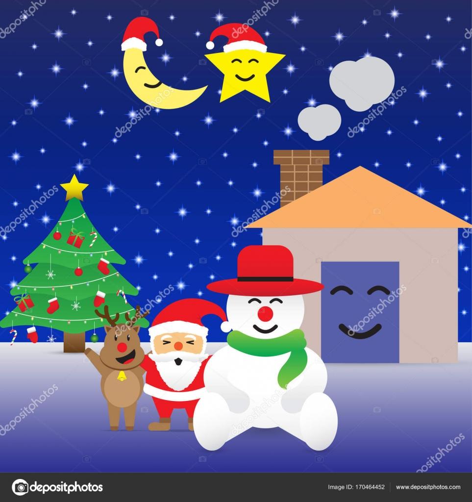 Frohe Weihnachten - Happy sechs Freunde und Weihnachtsbaum ...