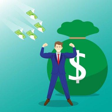 Money Flying Toward Strong Businessman