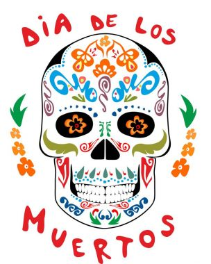 Vintage mexican scull with floral pattern for day of dead