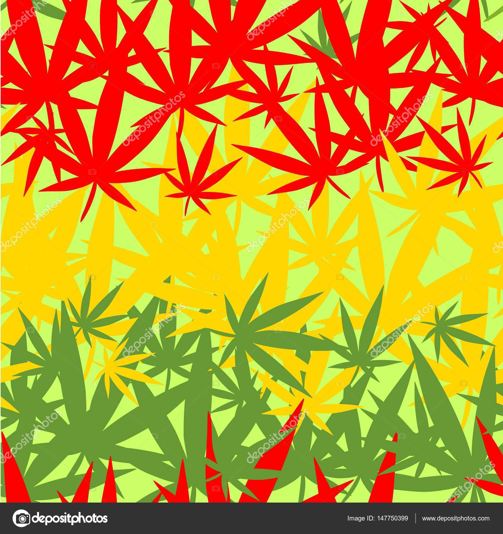 Wallpaper With Colorful Marijuana Leaves Stock Vector