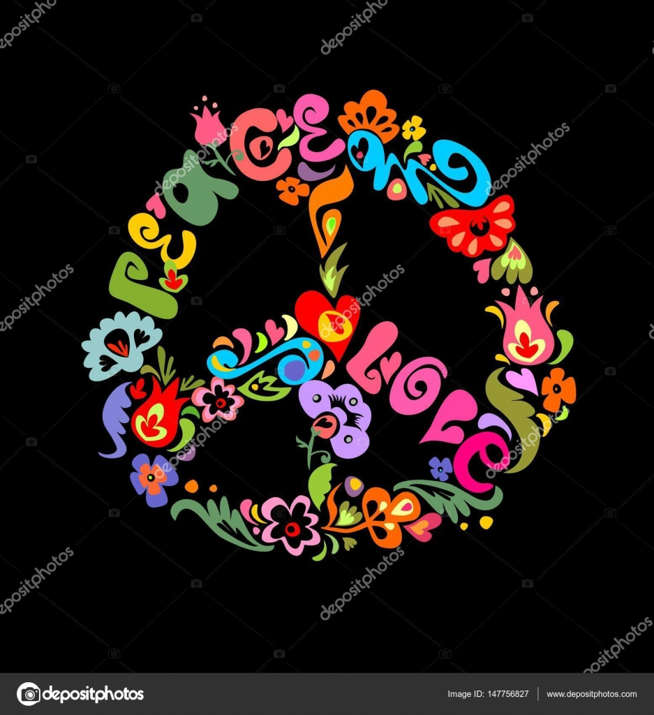 Peace Flower Symbol Isolated On Black Background Stock Vector