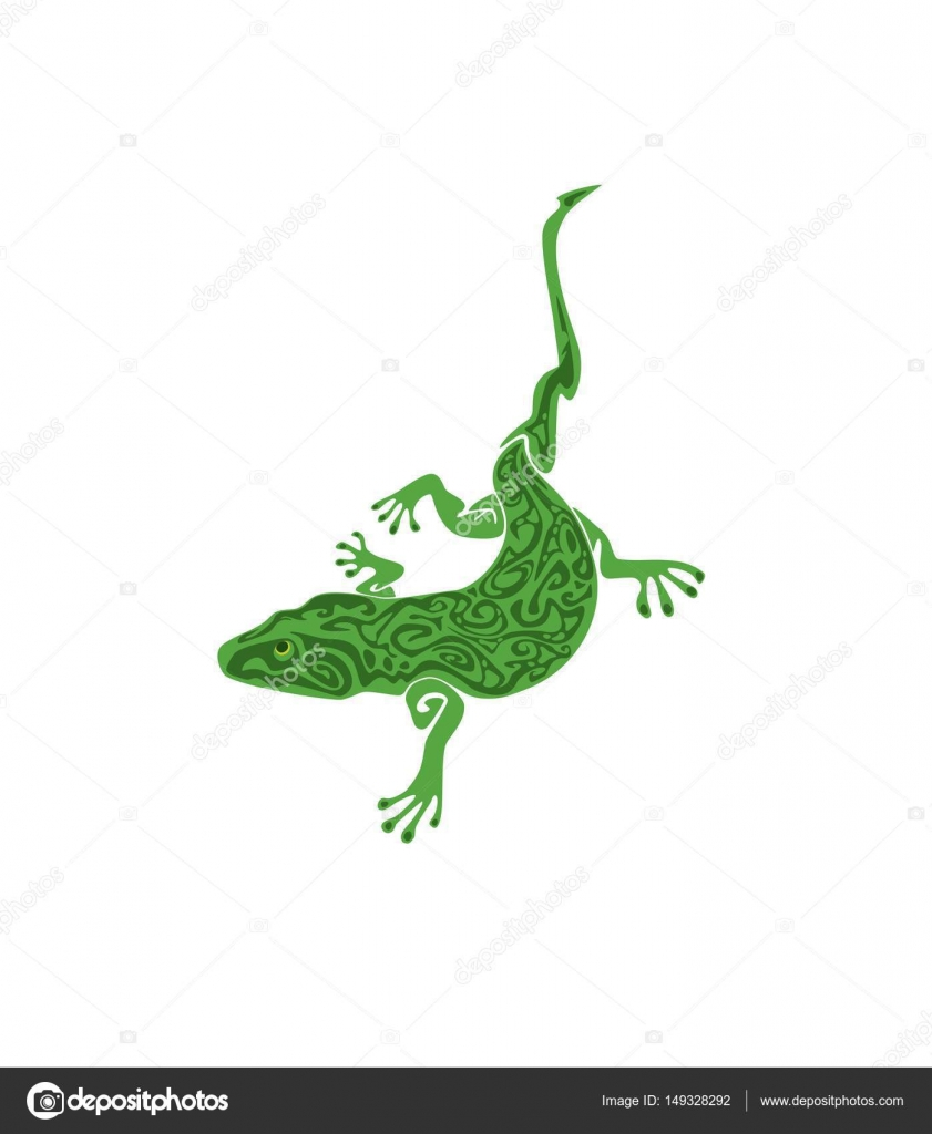 18d9f2ada Green vintage lizard tattoo isolated on white background — Stock Vector